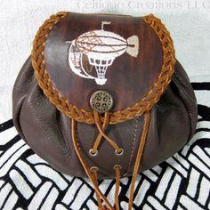 Handmade Leather Steampunk Airship Dirigible Belt Pouch Brown Sporran | celtique_creations - Leather Craft on ArtFire