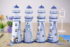 Grab this Handmade Mediterranean Lighthouse Garden Figurines, good for business and home decoration. Luxury Mediterranean Homes, Mediterranean House Plans, Mediterranean Architecture, Mediterranean Home Decor, Woodworking Diy Gifts, Supermarket, Garden Figurines, Tuscan House, Beach Crafts