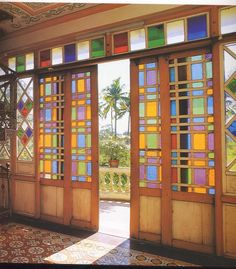 Trendy home interior doors stained glass 62 Ideas Exterior Doors With Glass, Sliding Glass Door, Interior And Exterior, Sliding Doors, Glass Doors, Interior Doors, Filipino Architecture, Philippine Architecture, Tropical Architecture