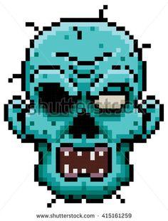 Vector illustration of Cartoon zombie face pixel design