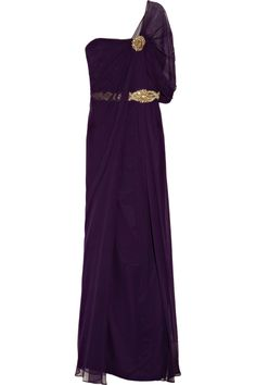 Maybe make two of these sleeves?? Notte by Marchesa|Embellished silk-crepe gown|NET-A-PORTER.COM