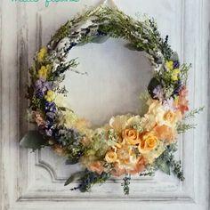Wreath bouquet :アプリコットオレンジのリースブーケ&ブートニア | ハンドメイドマーケット minne
