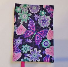 FABRIC Paperback Book Cover for Standard  Paperback Book BUTTERFLIES Hearts  #HandmadebyMe