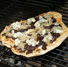 Grilled Pizza with Tapenade, Roasted Onions and Blue Cheese..I subbed ...