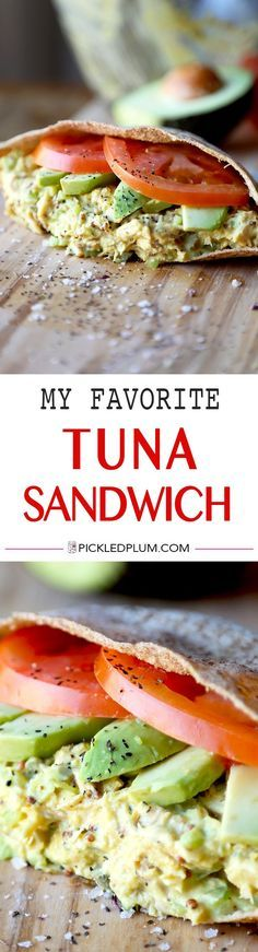 My Favorite Tuna Sandwich - This is the ultimate tuna sandwich - crunchy, savory, tangy and creamy, it has it all plus an added pinch of turmeric for extra health! Perfect for lunch at work or home. Healthy, easy recipe | pickledplum.com