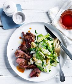 Australian Gourmet Traveller fast recipe for steak with zucchini and blue cheese salad