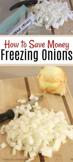 to freeze onions - Freezing onions saves time and is easy to do! Can you freeze chopped onions? Freezing onions will save you so much time in the kitchen. This is one of my favorite ways to meal prep and it's so easy to do once you learn how to fre Freezing Onions, Freezing Vegetables, Frozen Vegetables, Freezing Fruit, Budget Freezer Meals, Cooking On A Budget, Freezer Cooking, Cooking Tips, Freezer Recipes