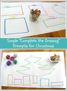 Easy Christmas Art Activity for Kids:  Complete the Christmas Drawing~ BuggyandBuddy.com