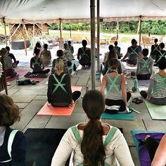 Yoga strap backpacks during the Treehouse Yoga Retreat #yogastrap #yogaretreat #treehouseyogaretreat #yogaretreatnewyork #yogaretreats #activetravel KarenShelleyYoga.com