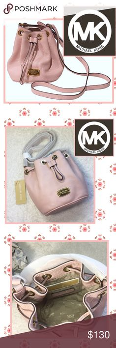 Cutest pink MK drawstring cross body bag I love this little cutie! Scoop it up before I decide to keep it.😍 Brand spanking new. Strap is still in the protective wrapping! Pale pink color. Non smoking home. Please see photos for sizing.💕 Michael Kors Bags Crossbody Bags