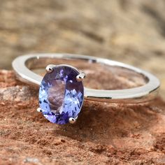 Tanzanite Platinum Over Sterling Silver Oval Cut Solitaire Ring Black Diamond Wedding Sets, White Gold Wedding Rings, Silver Ring, Antique Wedding Rings, Antique Rings, Tanzanite Engagement Ring, Engagement Rings, Bridal Jewelry Vintage, Tanzanite Jewelry