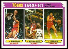 1981 TOPPS BASKETBALL 59 JULIUS ERVING CHEEKS NM TEAM LEADERS PHILADELPHIA 76ERS