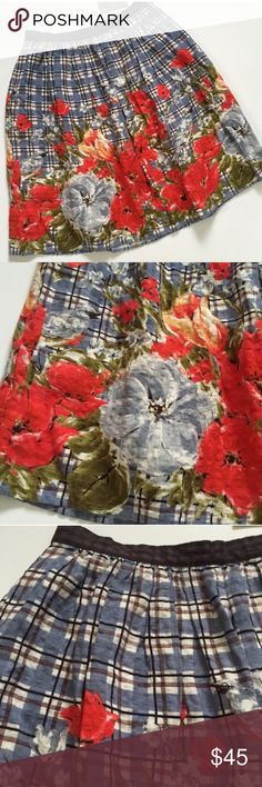 NWT! Odille from Anthro floral skirt Brand new!  Beautiful, unique blue skirt with red flowers Anthropologie Skirts Midi