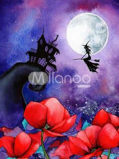 Halloween Mysterious Witch Canvas Oil Painting - Milanoo.com
