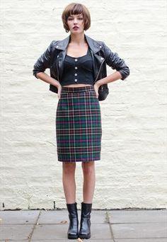 Vintage 1980's Tartan Pencil Skirt £22.00