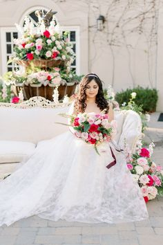 Outdoor Wedding reception decor with pink roses. Bride with flowers and bouquet - Peony Park Photography | One Thousand Roses for the most Romantic Summer Wedding Colors | Fairytale Wedding Inspo with Every Shade of Pink - Belle The Magazine Fairytale Bridal, Fairytale Weddings, Outdoor Wedding Reception, Wedding Ceremony Decorations, Summer Wedding Colors, Summer Weddings, Romantic Wedding Photos, Sophisticated Bride, Floral Wedding