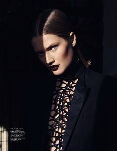 Model Toni Garrn Vamp Vampy Beauty Editorial Interview Magazine Russia April 2014 Photographers Driu & Tiago Styled by Katie Burnett Slicked Back Wet Bob Hair Haircut Bronzer Accented Cheekbones Dark Red Burgundy Wine Lipstick Lips High Collar Cut Out Mesh Top Satin Tuxedo Blazer Jacket