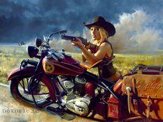 Harley-Davidson Art, Vintage Motorcycle and Aviation Paintings, Designer Apparel - Uhl Studios, Golden, Colorado Harley Davidson Kunst, Harley Davidson Bikes, Biker Chick, Biker Girl, David Mann Art, Bmw Autos, The Lone Ranger, Baggers, Motorcycle Style
