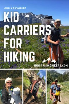 These are my 4 favorite kid carriers for hiking, for all ages from infants to preschoolers! #kidcarriers #hikingcarriers #hikinggear #hikingwithkids #outdoorgear #hickingbackpacks Hiking With Kids, Hiking Gear, Family Adventure, Infants, Outdoor Gear, Raising, Preschool, Baseball Cards, Tips
