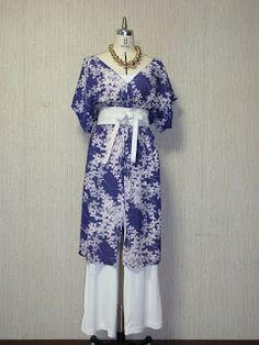 The Proposal for Reclaiming KIMONOs: Vintage Bush-Clover Pattern Purple Kimono Remake V-neck Long Tunic