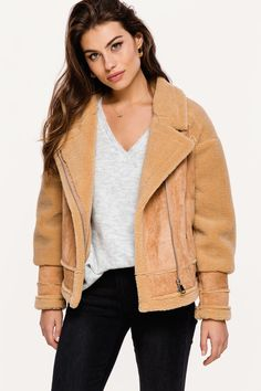 99fe49cbb22 Show people your soft side with this lovely teddy coat! The Feel On teddy  coat by Loavies comes in beige brown.
