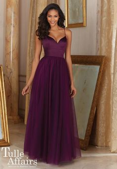 Mori Lee Tulle Affairs 153 is a long bridesmaid dress with fitted deep V neck Satin spaghetti strap bodice and gathered Tulle skirt.