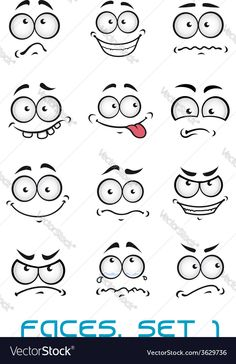 Cartoon faces with different emotions as happiness joyful comics surprise sad and fun Cartoon Faces Expressions, Funny Cartoon Faces, Drawing Cartoon Faces, Cartoon Expression, Drawing Cartoons, Doodle Drawings, Art Drawings Sketches, Easy Drawings, Different Emotions
