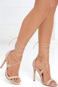 Cute Grey Heels - Lace-Up Heels - Caged Heels - $36.00