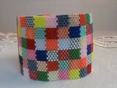 Patchwork design seed bead peyote cuff bracelet by EyeCandybyJBWeb, $38.00