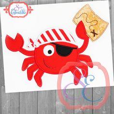 pirate crab summer machine applique design applique designs