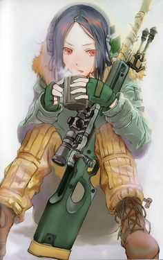 a girl whith a rifle.