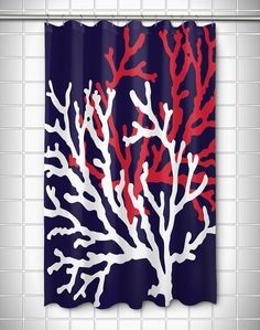 Coral Duo On Navy Shower Curtain Tropical