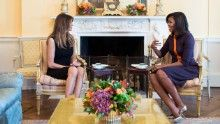 First Lady Michelle Obama meets with Melania Trump for tea in the Yellow Oval Room of the White House, Nov. 10, 2016. (Official White House Photo by Chuck Kennedy) This official White House photograph is being made available only for publication by news organizations and/or for personal use printing by the subject(s) of the photograph. The photograph may not be manipulated in any way and may not be used in commercial or political materials, advertisements, emails, products, promotions that…