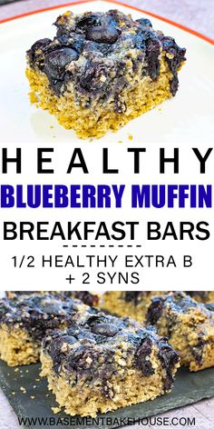 Recipes Breakfast Bars These Healthy Blueberry Muffin Breakfast Bars are a delicious, nutritious and filling breakfast recipe! Just 2 syns plus Healthy Extra B on Slimming World, they're an easy breakfast bar recipe. Healthy Fast Food Breakfast, Fast Healthy Meals, Breakfast Recipes, Healthy Recipes, Slimming World Breakfast Muffins, Breakfast Ideas, Healthy Sweets, Diet Recipes, Healthy Snacks