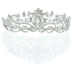 Kate Marie 'Keli' Rhinestone Crown Tiara Headband (225 BRL) ❤ liked on Polyvore featuring silver
