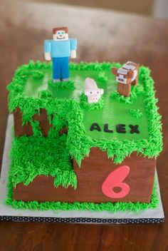 Logan-Minecraft Cakes (with Creeper and Spider instead of animals, maybe a tree pig)