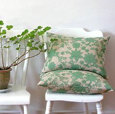 Green Floral Linen Pillow   Jill Bent