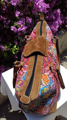 Beautiful tote bag crafted with a gorgeous pinky-red vintage Guatemalan huipil 'Nahuala' textile with high-quality suede finishes.