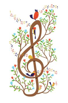 Song birds Art Print  double clef, music, nature, birds, flowers, sing, song, notes, fly, free, art, illustration, poster, iphone cover, t-shirt