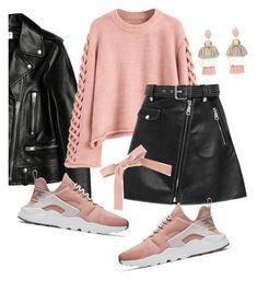 """Suspus ..."" by karameell ❤ liked on Polyvore featuring Yves Saint Laurent, NIKE, Maje and Oscar de la Renta"
