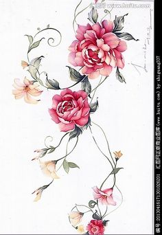 Botanical Flowers, Botanical Prints, Floral Illustrations, Botanical Illustration, Fabric Painting, Painting & Drawing, Watercolor Flowers, Watercolor Art, Flower Art Drawing