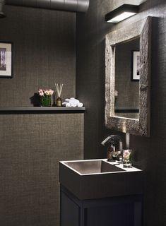 Lodge Bathroom, Winter Cabin, Powder Room, Small Spaces, Flooring, Mirror, Interior, Inspiration, Mountain