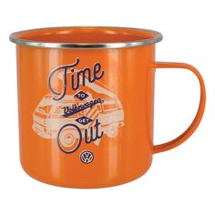 b15533fbd9 Volkswagen T25 Campervan Orange Enamel Tin Mug