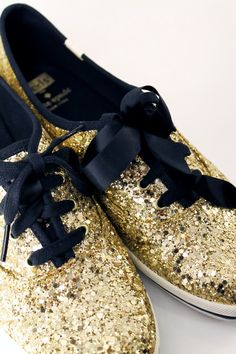 Black and gold sequinned Keds! #KateSpade #theta1870