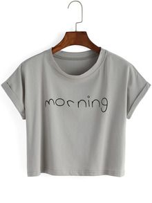 Grey Crew Neck Letters Print Crop T-Shirt http://www.shein.com/Grey-Crew-Neck-Letters-Print-Crop-T-Shirt-p-264648-cat-1738.html
