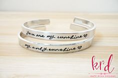 You Are My Sunshine Bracelet Set - My Only Sunshine - Sunshine Jewelry - Mother Daughter Gift - Hand Stamped Silver Cuff Bracelet Set of 2