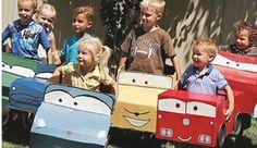 DIY Cheap Birthday Idea Make Disneys Cars box cars from used