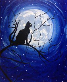 Black Cat Moonlight at Gaucho Grill - Paint Nite Events near Burbank, CA> Black Cat Painting, Shadow Painting, Moon Painting, Halloween Painting, Halloween Art, Arte Van Gogh, Moonlight Painting, Silhouette Painting, Moon Silhouette