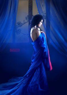 Awesome Digital Illustrations by Namiyammi. I'd call this: Blue Beauty Fantasy Women, Dark Fantasy, Fantasy Art, Geisha, L5r, Mystique, Blue Art, Blue Moon, Electric Blue