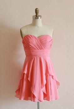Coral/Black Chiffon strapless sweetheart dress